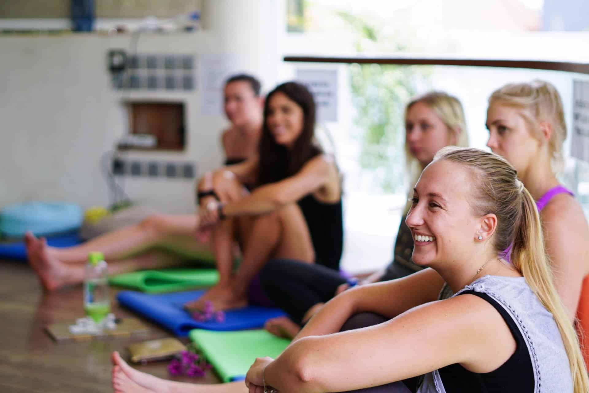 yoga students smile