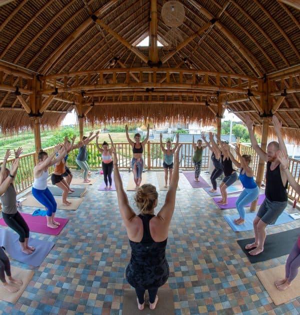 yoga teacher training class chair pose