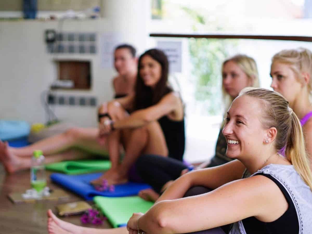 yoga student smiling