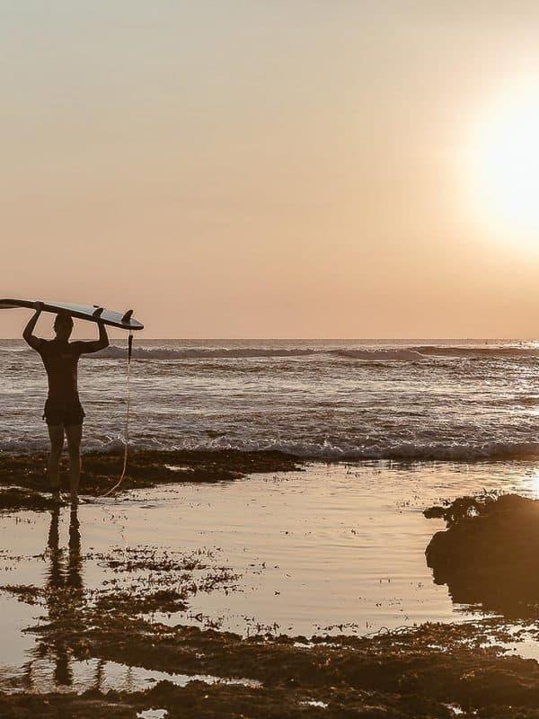 surfer bali sunset