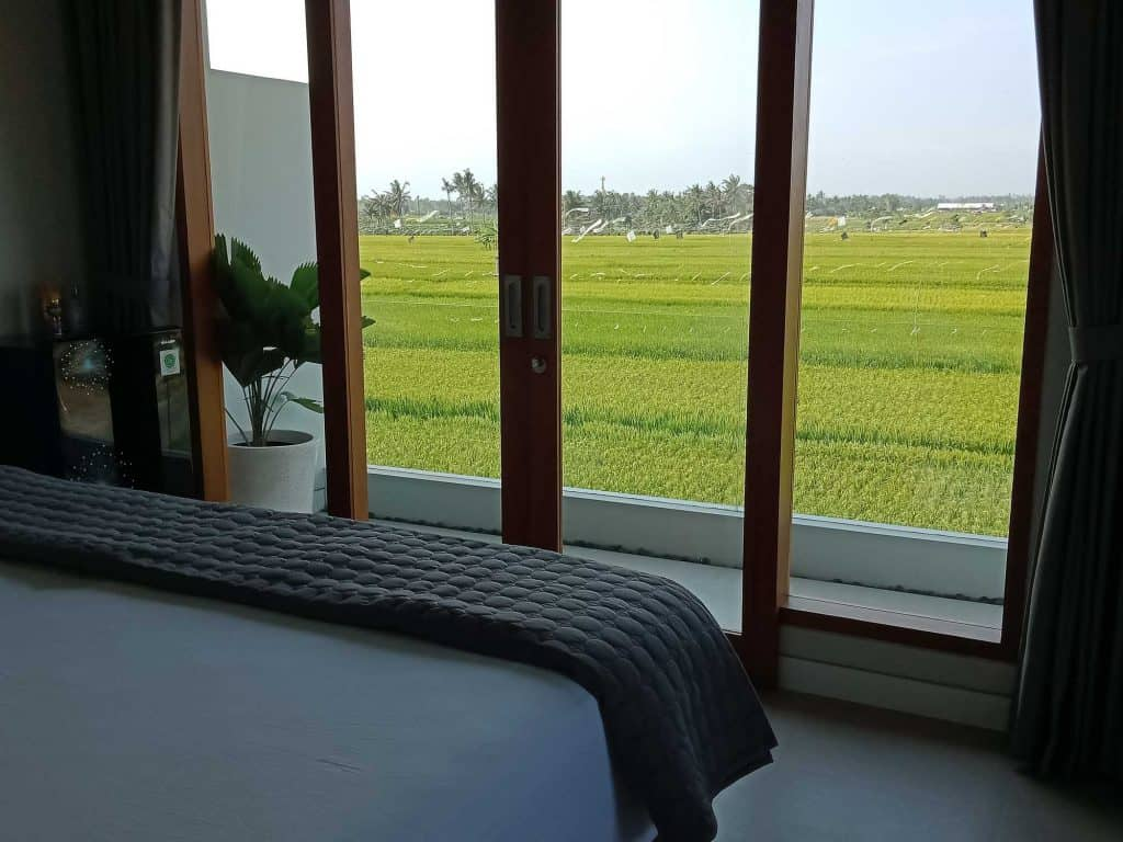 bedroom with ricefield view