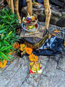 Bali offering laid out on an altar
